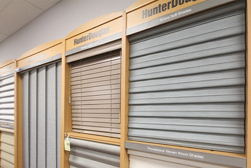 Hunter douglas blinds in showroom