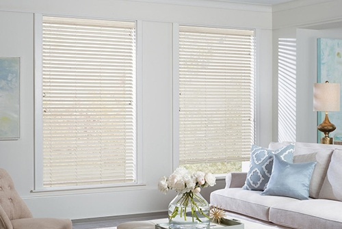 Horizontal blinds in living room