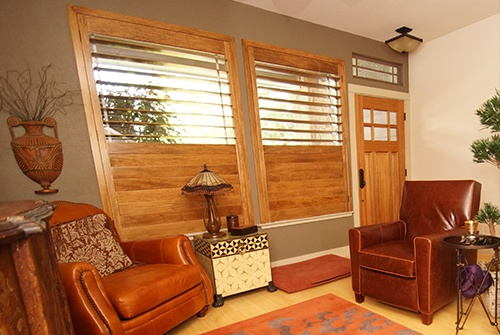 Plantation shutters in living room