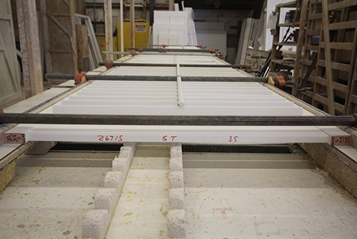Plantation shutters being manufactured