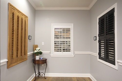 Three types of shutters in showroom
