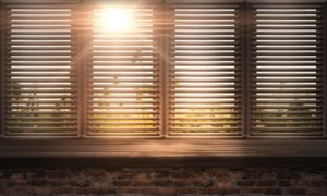 shutters and door with sunlight shining